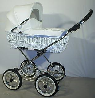 EICHHORN Weidenkorb Kinderwagen Korb Weiß Kunstleder Weiß Innenstoff K061