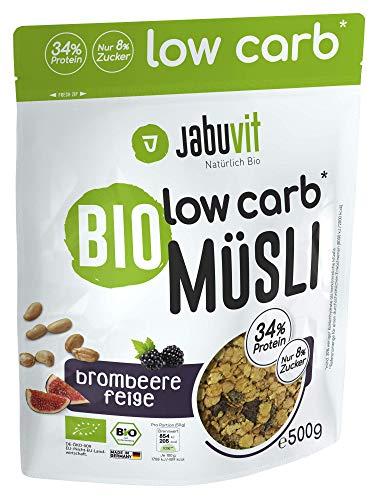 JabuVit Low-Carb Bio Müsli - 37% Protein - wenig Kohlenhydrate und Zucker - 500 g (Brombeer-Feige)
