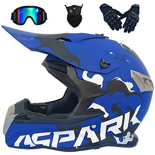 LCRAKON Casco Moto Niño 5-16 Años MJH-02 Azul Spark Cascos Motocross Integral...