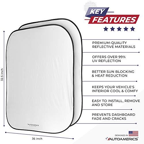 Autoamerics Windshield Sun Shade 2-Piece Foldable Car Front Window Sunshade for Full Size SUV Truck Tesla - Auto Sun Blocker Visor Protector Blocks Max UV Rays and Keeps Your Vehicle Cool - (X-Large)