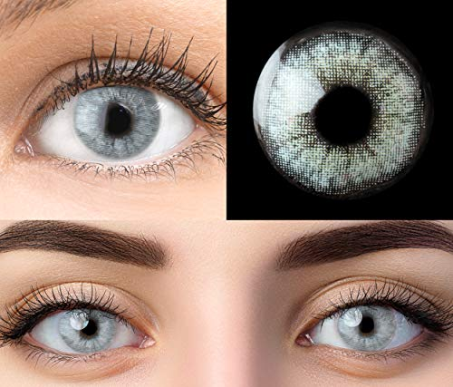 GLAMLENS Keira Blue Blau + Behälter | Sehr stark deckende natürliche blaue Kontaktlinsen farbig | farbige Monatslinsen aus Silikon Hydrogel | 1 Paar (2 Stück) | DIA 14.20 | Ohne Stärke