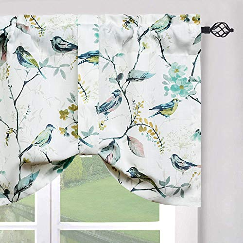 Leeva Valances Tie Up Small Curtains and Valance for Living Room, Rod Vintage Tie-up Swag Valance Half Windows Treatment for Kid's Room, One Panel, 52X18 Inch, Green