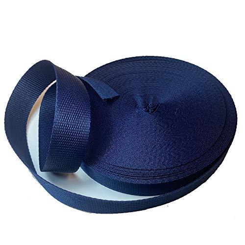 Cinta Mochila Nylon 30mm 25mts Made in Spain, Correa para Cascos, Bolsos, Mochilas, Moda Y Accesorios (Azul Marino)