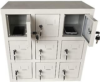 Ozzptuu Metal Cell Phone Pocket Chart Locker Modular Storage Box with Key Lock for School Classroom Office Meeting Room 9-Slot
