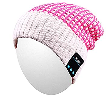 Qshell Wireless Bluetooth Beanie Hat Cap Dual Knit for Men Women with Stereo Headphones Headsets Earphones Speakers Hands-Free Phone Call for Gym Skiing Running Skating Walking Rose
