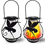 X-PREK 2 Pack Solar Lanterns Light for Outdoor Hanging,Solar Flickering Flame Lights Waterproof Led Landscape Decoration Lighting for Garden Table Patio Decor(Hummingbird)