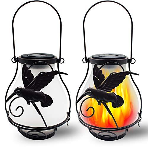 X-PREK 2 Pack Solar Lanterns Light for Outdoor Hanging,Solar Flickering Flame Lights Waterproof Led Landscape Decoration Lighting for Garden Table Patio Decor(Hummingbird)