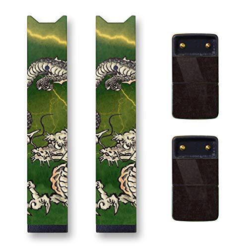 Biijo Japan Juul Skin - 2 Pack - Wrap for juul Accessories Sticker Dragon Tattoo UKIYOE (Green)