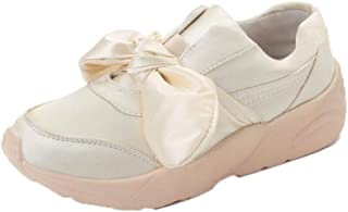 Casual Shoes, Women Girls Summer Trainers Flat Round Shoes with Bowknot (Color : Beige, Size : 5 UK)
