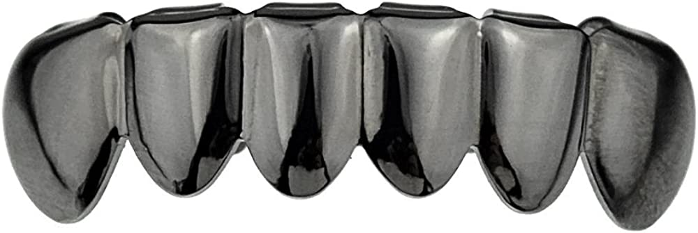 Gunmetal Black Grillz Bottom Lower Row Teeth Grill Hip Hop Fronts Pullout Mouth Grills