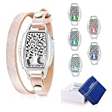 Aromatherapy Essential Oil Diffuser Bracelet - ttstar New Design Leather Band Stainless Steel Locket Pendant Tree of Life Diffuser Bracelets With Artificial Diamond Perfect Gifts for Women & Girls