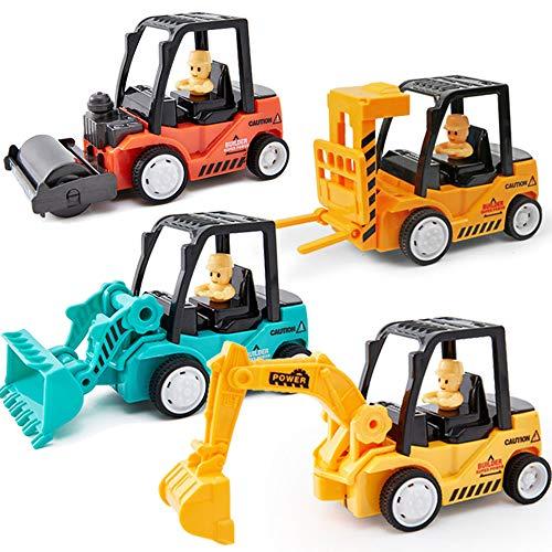 Xyanzi Kinderspielzeug Mini Mechanischer BAU-LKW-Spielzeugauto-Satz Von 4, Technik-Spielzeug, Bagger, Straßenwalze, Planierraupe, Gabelstapler Geeignet Für 3-Jährige, Jungen Und Mädchen