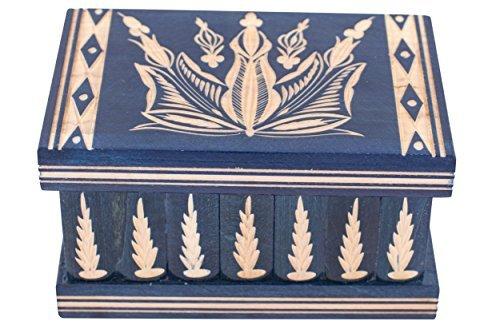 Sieraden en puzzel-doos 2-in-1 - handgemaakte houten doos met verborgen sleutels en verwijderbare vakken - mooie klassieke houten puzzeldoos van Kalotart - Mag ik je geheim voor je opbergen? Vervaardigd in 1770