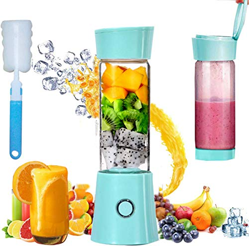 Portable Blender, Personal Size 480mL Rechargeable USB Juicer Blender, Baby Food Smoothie Milkshake Maker Juicer Cup, Fruit Mixer for Home Travel and Outdoor Sport (Blue)