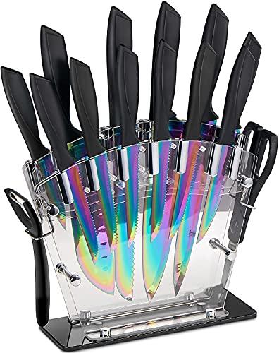 Juego de Cuchillos de Cocina con Soporte Acrílico | 16 Piezas Set Cuchillos Cocina | Recubrimiento de Titanio Acero Inoxidable de Alto Carbono - Súper Afilado, Antioxidante y Anticorrosión
