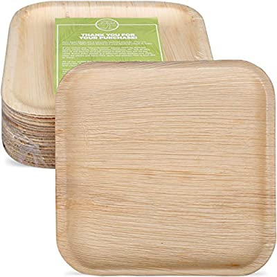 "Pure Palm Planet Friendly Palm Leaf Plates; Bamboo-Style, Upscale Disposable Dinnerware; All-natural Biodegradable Plates (10"" Square) (25 pack)"
