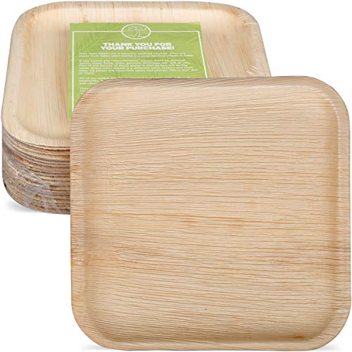Pure Palm Planet Friendly Palm Leaf Plates; Bamboo-Style, Upscale Disposable Dinnerware; All-natural Biodegradable Plates (10' Square) (25 pack)