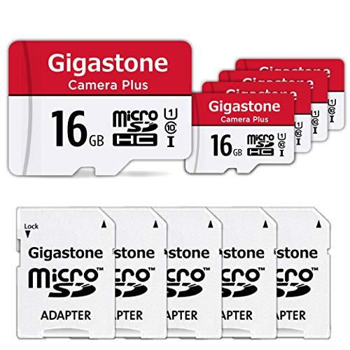Gigastone 16GB 5-Pack Micro SD-Karte, Camera Plus 90MB/s, Full HD-Video, Micro SDHC UHS-I-Speicherkarte U1 C10 Klasse 10, mit MicroSD-zu-SD-Adapter