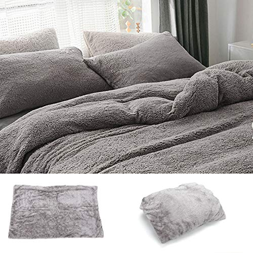 YORKING Teddy Bear Fleece Duvet Cover Winter Velvet Duvet Cover Fluffy Warm And Comfortable Bedding Set(Light Grey)