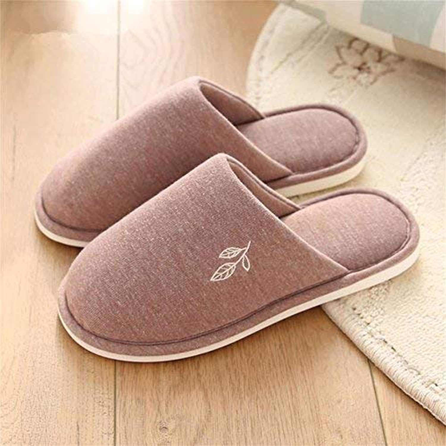 JaHGDU Ms. Home Slippers Indoor Thermal Non-Slip Cute Leaves Pattern Solid color Winter and Autumn Keep Warm Classic Basic Cotton Slippers