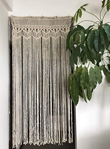 """Macrame Curtain Panel for Doorway Window, Handmade Woven Wall Hanging Tapestry, Birthday Party Wedding Backdrop, 37.5"""" W x 77"""" L"""