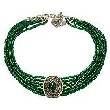 Alpenflüstern Trachten-Perlen-Kropfkette Josepha - Elegante Trachtenkette Damen-Trachtenschmuck, Filigrane Dirndlkette grün DHK185