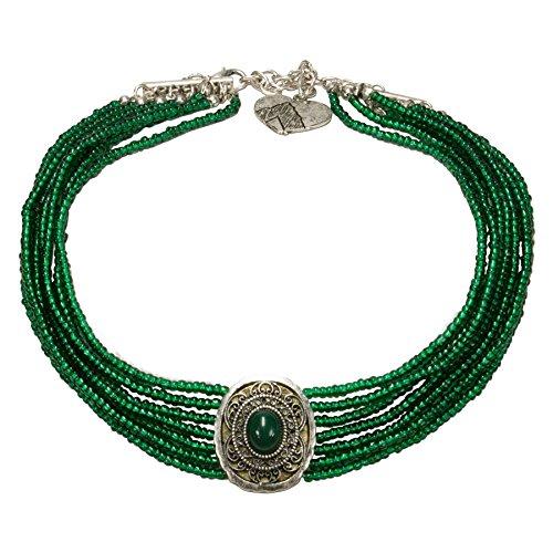 Alpenflüstern Trachten-Perlen-Kropfkette Josepha - Elegante Trachtenkette - nostalgischer Damen-Trachtenschmuck, Filigrane Dirndlkette grün DHK185