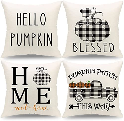 Set of 4 Fall Throw Pillow Covers 18x18 Inch Square Linen Fall Buffalo Check Plaid Decor Modern Rustic Farmhouse Decorations Cushion Covers Indoor Outdoor for Bed Car Sofa Chair Living Room