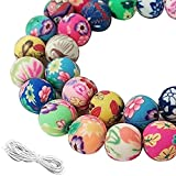 WXBOOM 100pcs 10mm Round Clay Beads for Jewelry Making, Colorful Clay Beads, Assorted Pattern Beads and White Cord for Bracelets Making