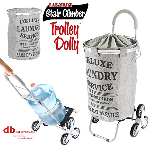 dbest products Stair Climber Laundry Trolley Dolly, Grey Laundry Bag Hamper Basket cart with...