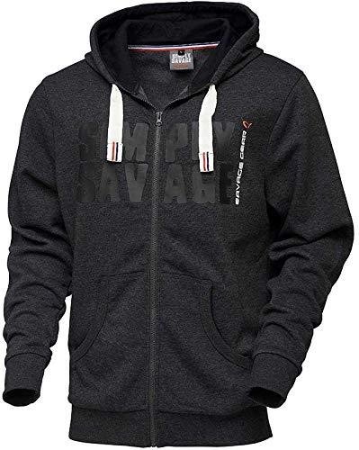 Savage Gear Herren Sweater MIT Kapuze Zip Hoodie SG Simply Savage RAW - Black, S