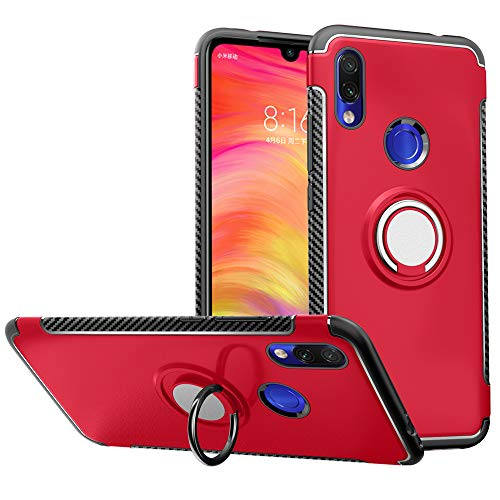 LFDZ Funda xiaomi redmi 7, 360 Grados Giratorio Ring Grip con Gel TPU Case Carcasa Fundas para xiaomi redmi 7 Smartphone(Not fit Huawei p20 Lite 2018),Rojo