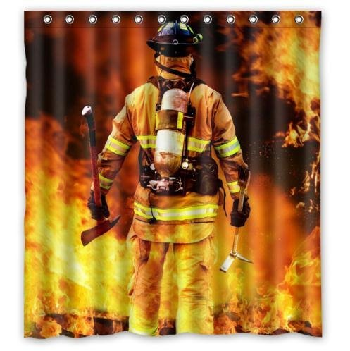 CHATAE Vorhang, Feuerwehr-Motiv, 100prozent Polyester, wasserdicht, 168 x 183 cm