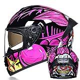 BUETR Casco de motocicleta eléctrica todoterreno, casco de doble lente, casco completo, casco completo, casco de bicicleta de montaña de carreras-M_Pink Joker