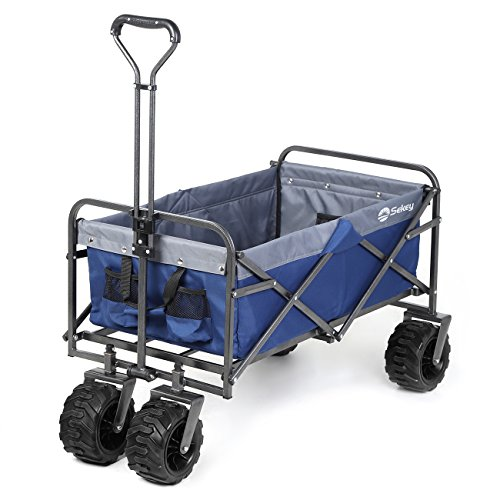 Sekey Folding Wagon Cart Collapsible Outdoor Utility Wagon Garden Shopping Cart Beach Wagon with All-Terrain Wheels, 265 Pound Capacity, Blue with Gray