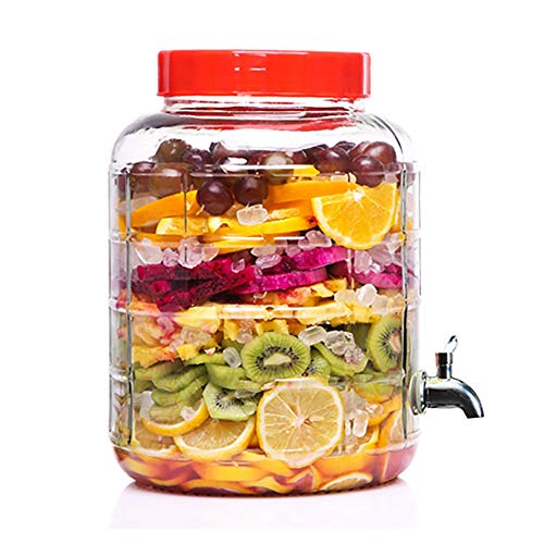 HYXXQQ-fles glas drank dispenser met roestvrijstalen spigot en deksel - 5L glas drankje Dispenser voor limonade, thee, koude drank AA++
