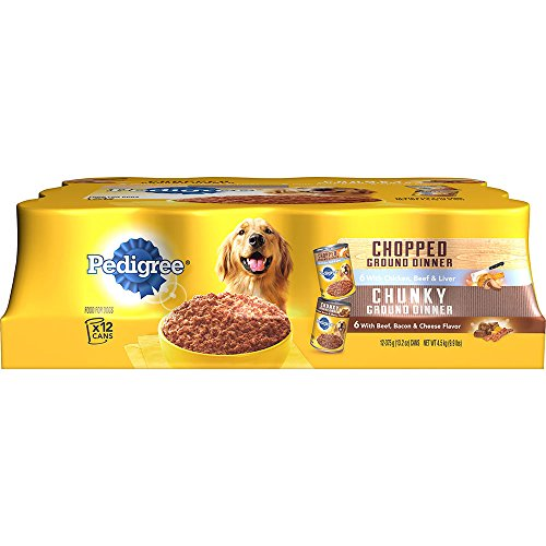 Pedigree Ground Dinner Wet Dog Food Variety Pack, Chicken, Beef and Liver, Beef, Bacon and Cheese, (12) 13.2 Oz Cans