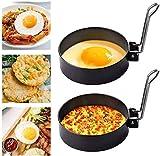 2 pezzi anelli di uova fritte, anelli di cottura antiaderenti con manici pieghevoli, stampi per uova frittata in acciaio inossidabile per padella uova fritte panini