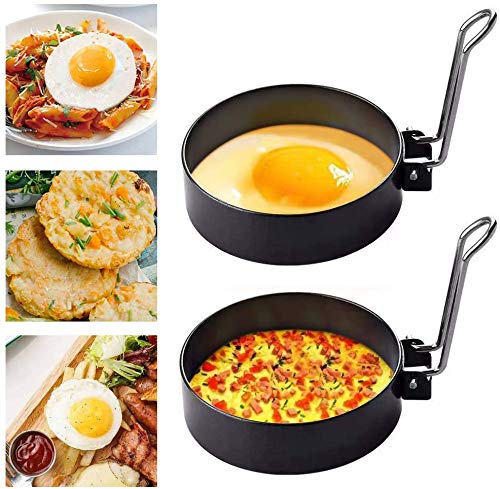 2 piezas de anillos de huevo frito, anillos de cocción antiadherentes con...