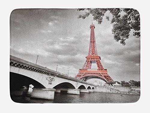 """Lunarable Paris Bath Mat, Eiffel Tower Bridge Capital City Cloudscape Monochrome Style Picture Print, Plush Bathroom Decor Mat with Non Slip Backing, 29.5"""" X 17.5"""", Dimgray Salmon"""