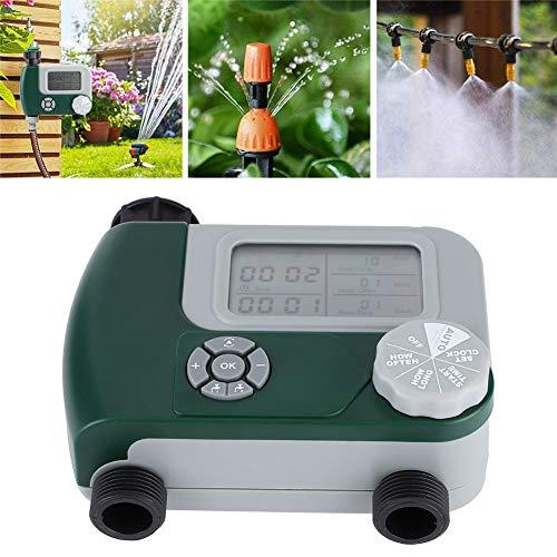 QIRG Temporizador de riego, Herramienta de jardinería, Junta de rotación de Doble Salida de Pantalla Grande Resistente a la Intemperie para jardín en casa
