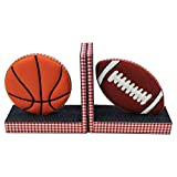 Treasure Hunt - Sports Balls Handcrafted / Handmade Fabric Bookends to Orangise Your Books on Side Table 14 X 3 X 7 Inches