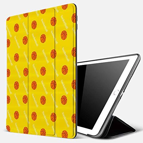 Funda iPad 10.2 Inch 2018/2019,Baloncesto, Bolas temáticas de la Liga de Atletismo en un telón de Fondo Amarillo Objetivo Juego de Partido diverti,Cubierta Trasera Delgada Smart Auto Wake/Sleep
