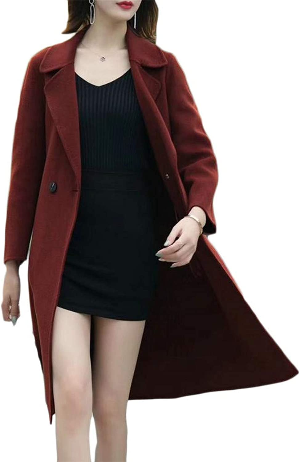 Blyent Women Lapel Neck Warm Two Button Pocket Overcoat Wool Blend Coat Jacket