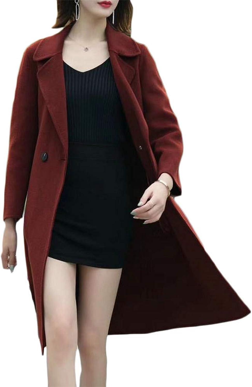Blyent Women Lapel Neck Warm Two Button Pocket Overcoat Wool Blend Coat Jacket