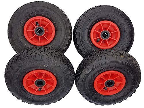 Frosal 4 x Rad Bollerwagen | 25 mm Achse |Ersatzrad Reifen Sackkarre | Ersatzreifen | Sackkarrenrad Luftreifen Rollenlager Kugellager