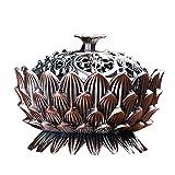 TOSLEJF Vintage Lotus Quemador de Incienso, Retro Zen-como Cubierta Estufa de Aire purificado del Aroma de sándalo Quemador de Incienso Quemador