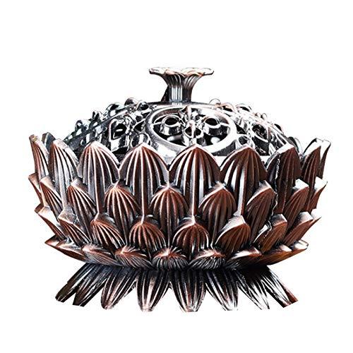 WYJBD Vintage Lotus Quemador de Incienso, Retro Zen-como Cubierta Estufa de Aire purificado del Aroma de sándalo Quemador de Incienso Quemador