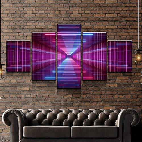 KQURNXSL 5 stuks muur kunst foto infinity spiegel canvas set voor woonkamer gedrukt op canvas