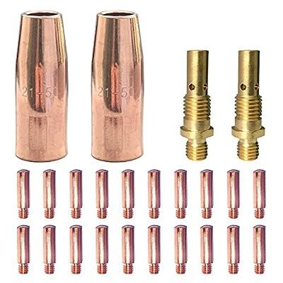"""Mig Welding gun accessory 0.035"""" kit for Lincoln Magnum 100L or Tweco Mini/#1 Mig gun: 20pcs Contact Tips 11-35 0.035"""" + 2pcs gas nozzles 21-50 1/2"""" + 2pcs gas diffusers 35-50"""